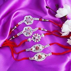 Five Designer Silver Rakhis - Send Silver Rakhi Online