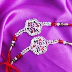 Two Designer Silver Rakhi Set - Send Silver Rakhi Online