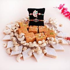 Two Rakhis with Haldiram Sweets N Cashews