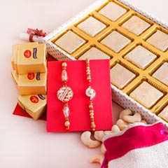 Two Fancy Rakhis with Chocolate Tray N Dryfruits