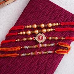 Set of Five Elegant Rakhis - Family Rakhi Sets