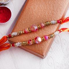 Set of Two Designer Pearl Rakhis - Family Rakhi Sets