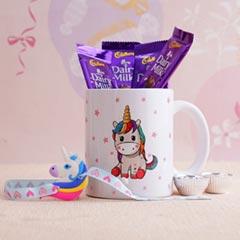 Unicorn Rakhi with Mug N Chocolates