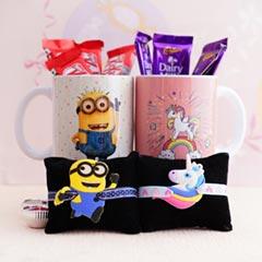 Minion Rakhi N Unicorn Rakhi with Mugs N Chocolates