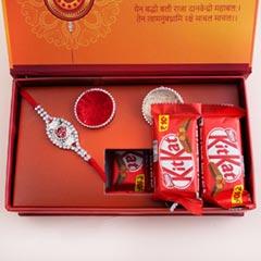 Silver Rakhi with Chocolates in Signature Box - Rakhi with Chocolates