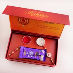 Signature Box with Chocolates N Two Rakhis - Rakhi with Chocolates
