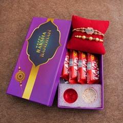 Two Rakhis with Chocolates in Signature Box - Rakhi with Chocolates