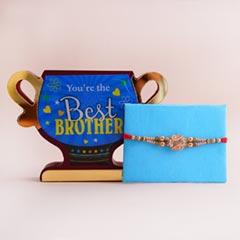 Designer Rakhi with Best Brother Trophy