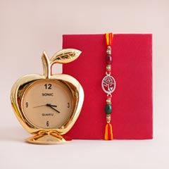 Designer Silver Rakhi with Table Clock