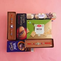 Chocolaty Hamper with Two Designer Rakhis - Premium Rakhis