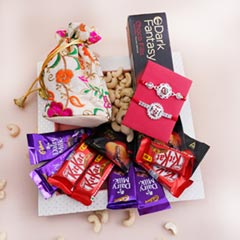 Two Silver Rakhis with Chocolates Sweets N Dryfruits Hamper