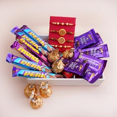 Four Rakhis with Chocolates in a Tray