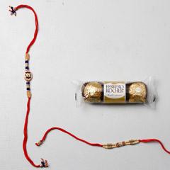 Ferrero Rocher And Set Of 2 Rakhis - Send Rakhi to UAE