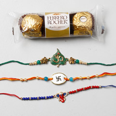 Set Of 3 Designer Rakhis And Ferrero Rocher - Send Rakhi to UAE
