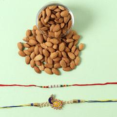 Designer Rakhi Set And Almonds Combo