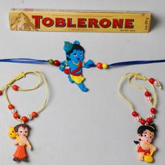 3 Kids Rakhi And Toblerone Chocolate Combo