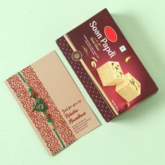 Om Rakhi And Soan Papdi Sweet Combo - Send Rakhi to UAE