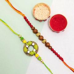 Chandan beads Rakhi Pair - Send Rakhi to New York