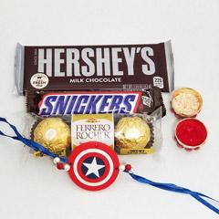 Captain America Rakhi with Chocolates