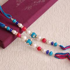 Colorful Beads Rakhi Pair - Worldwide Rakhi Delivery Outside India