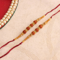 Attractive Rudraksha Rakhis - Worldwide Rakhi Delivery Outside India