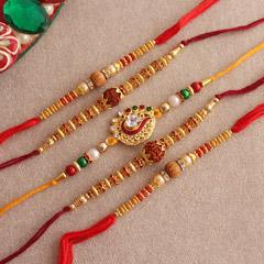 Enchanting Set of 5 Rakhis - Worldwide Rakhi Delivery Outside India