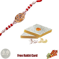 One Rakhi with 225 grams Kaju Katli Free Silver Coin