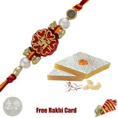 1 Rakhi with Kaju Katri and a Free Silver Coin