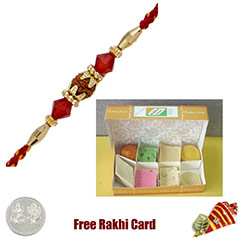One Rakhi with 225 grams Assorted Sweets Free Silver Coin