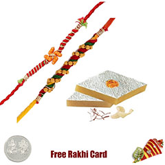 2 Rakhis with 450 grams Kaju Katli Free Silver Coin