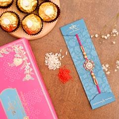 American Diamond Floral Rakhi And 3 Pcs Ferrero Rocher - Send Rakhi to Singapore