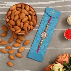 American Diamond Floral Rakhi And Healthy Almonds - Send Rakhi to Singapore