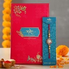 American Diamond Flower Designer Rakhi - Send Rakhi to Singapore