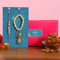 Caged Bird Bracelet Lumba Rakhi Set With Healthy Almonds