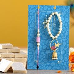Caged Bird Bracelet Lumba Rakhi Set With Kaju Katli
