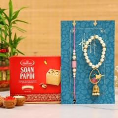 Caged Bird Bracelet Lumba Rakhi Set With Soan Papdi