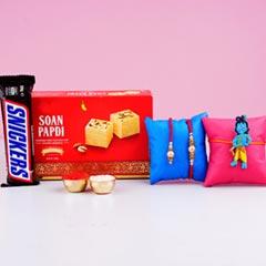 Bhaiya Bhabhi Kid Rakhi Set with Soan Papdi & ChocolateFor UK - Send Rakhi to UK