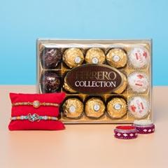 Glittering Beads Rakhi Set with Chocolate HamperFor UK