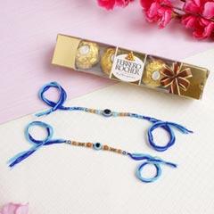 Evil Eye Stylist Rakhi Set with Chocolate Pack For UK