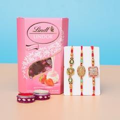 Three Beaded Rakhi with Lindt Strawberries Chocolates For UK
