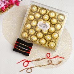 Magnificent Family Rakhi Set with Ferrero Rocher Chocolate Hamper For UK