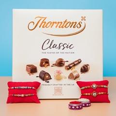 Four Designer Rakhi Set with Premium Chocolate Box For UK