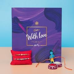 Designer Sparkling Rakhi Set with Chocolate Hamper For UK