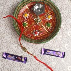 Metallic My Brother Rakhi with Puja Thali Chocolate Bars For UK
