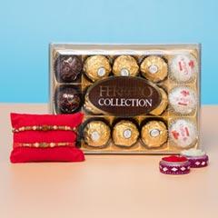Astonishing Designer Rakhis with Ferrero Collection ChocolatesFor UK