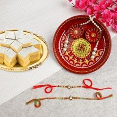 Alluring American Diamond Rakhi Set Hamper For UK - Send Rakhi to London