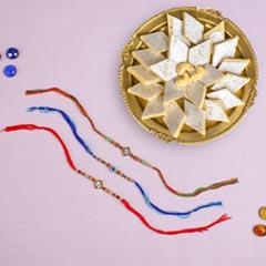 Adorable Designer Rakhi Set with Kaju Katli Sweet For UK