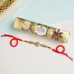 Designer Embellished Rakhi with  Ferrero ChocolateFor UK