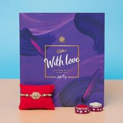 Diamond on Metal Designer Rakhi with Cadbury Milk Tray Chocolate For UK