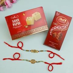 Two Majestic Royal Rakhi Set with Sweet & Chocolate For UK - Send Rakhi to UK